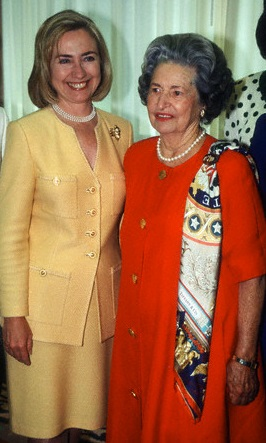 Hillary Clinton with Lady Bird Johnson at the time of the former's spring 1993 speech at the LBJ Library. (Corbis)