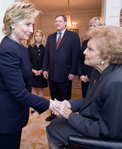 Hillary Clinton offers her sympathy to Betty Ford in Blair House at the time of President Ford's 2007 Washington funeral. (David Kennerly)