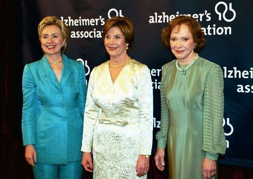 Hillary Clinton joined Laura Bush and Rosalynn Carter at a 2004 Alzheimer's Foundation fundraiser gala. (Getty)