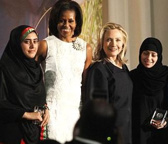 Among the policy issues Michelle Obama shared with Hillary Clinton was advocating US support for institutional equality of women in Afghanistan. (WH)