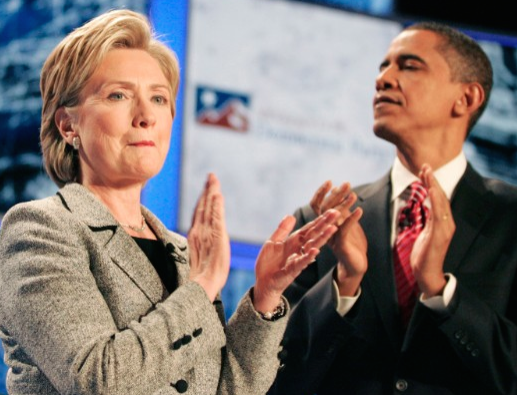 Hillary Clinton on stage for a televised debate with Barack Obama, her primary rival for the 2008 Democratic presidential nomination. (CNN)