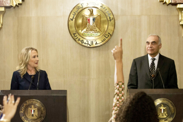 Secretary Clinton and Egyptian Foreign Minister Mohamed Kamel Amr hold a joint press conference in Cairo on July 14, 2012. (Getty)