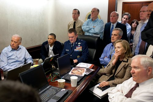 Secretary Clinton joined President Obama and other high-ranking figures in watching a real-time transmission of the capture of Bin Laden. (WH)