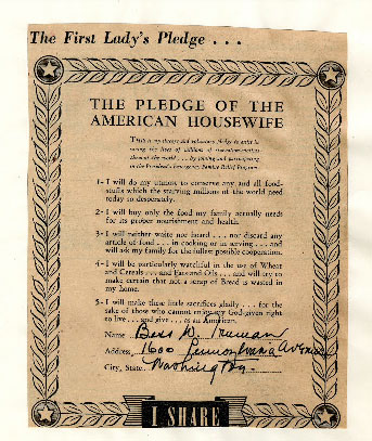 Bess Truman's signed pledge to conserve food at the White House. (HSTL)
