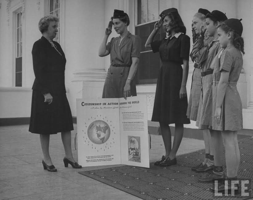 Bess Truman lent support to two international relief efforts organized by the Girl Scouts. (Life)