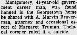 The Montgomery suicide was tangentially linked to the Truman family in the press, as suggested in this excerpt. (Sarasota Journal)
