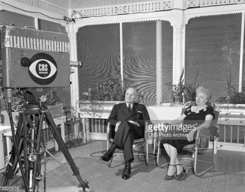The Trumans photographed during their only joint television interview, three years after leaving the White House. (CBS)